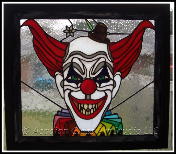 Original Aga Scary Clown Stained Glass Panel By