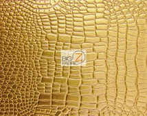 Vinyl Faux Fake Leather Pleather Embossed Shiny Amazon Crocodile Fabric - GOLD - By The Yard Upholstery Purses Shoes Wallets Belts Clothing