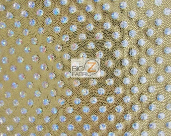"""Small Polka Dot Lustrous Nylon Spandex Costume Fabric - GOLD - Sold By The Yard 54""""/56"""" Width"""