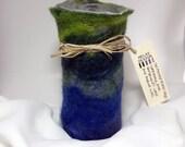 Blue, Green, Hand Felted Wool Vessel, Wool Felt Vase, Wine Cozy, flower vase, Solid Glass Vase Interior - The Mother Earth Vase