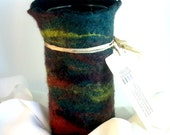 Blue, Red and Yellow Felted Wool Vessel, Felt Flower Vase, Wine Cozy, Glass Vase Interior, 7.5 x 3.5 Inches, The Painterly Vase, Holds Water