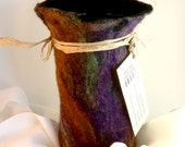 Purple, Green, Orange Felt Wool Vessel w/ Silk / Glass Flower Vase Interior - Psychedelic Hendrix Inspire, The Purple Haze Vase / Wine Cozy