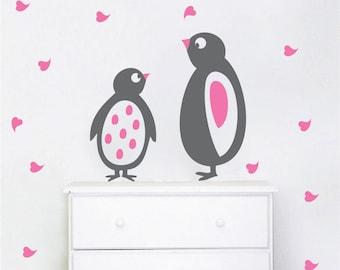 Cute Penguin Wall Decals, Nursery Penguin Designs, Penguins for Kids Bedroom, Adorable Penguin Murals, Custom Nursery Room Decor, g45