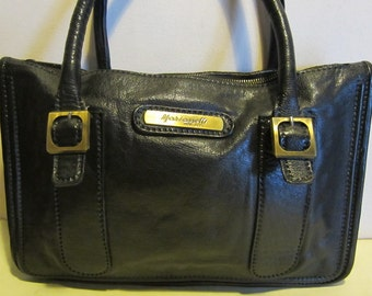 Great Italian, vintage black leather handbag, Marianelli, Italy