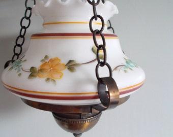 Vintage Fenton Hanging Hurricane Electric Lamp circa 1960s-1970s
