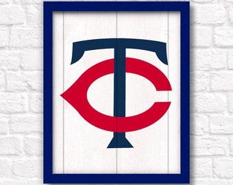 MINNESOTA TWINS traditional logo - handmade sign - Twins wall sign for Boys room or Man cave decor - Minnesota sports fan