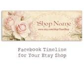 Shabby pink flower roses Facebook timeline banner cover for Your Etsy shop