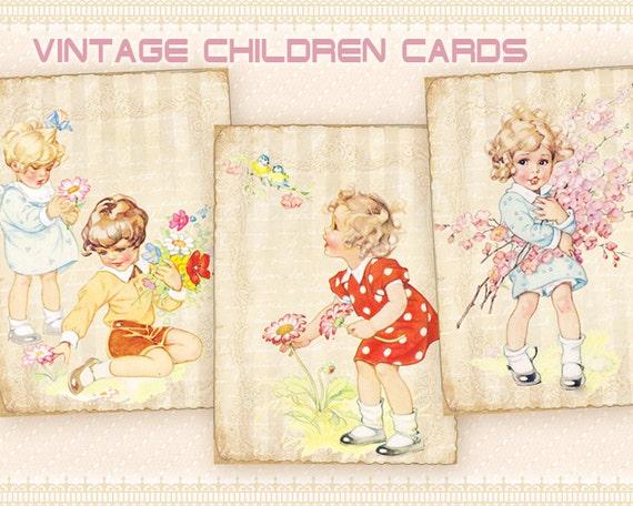 Madeline S Memories Vintage Christmas Cards: Vintage Children Greeting Cards Gift Cards On Digital Collage