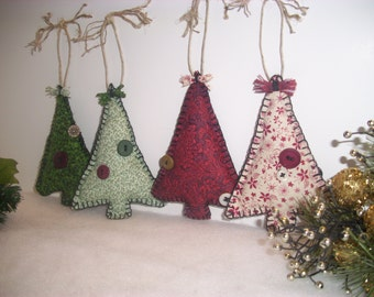 Primitve Christmas Tree Fabric Ornaments, Rustic, Country Christmas Decor, Name Tag