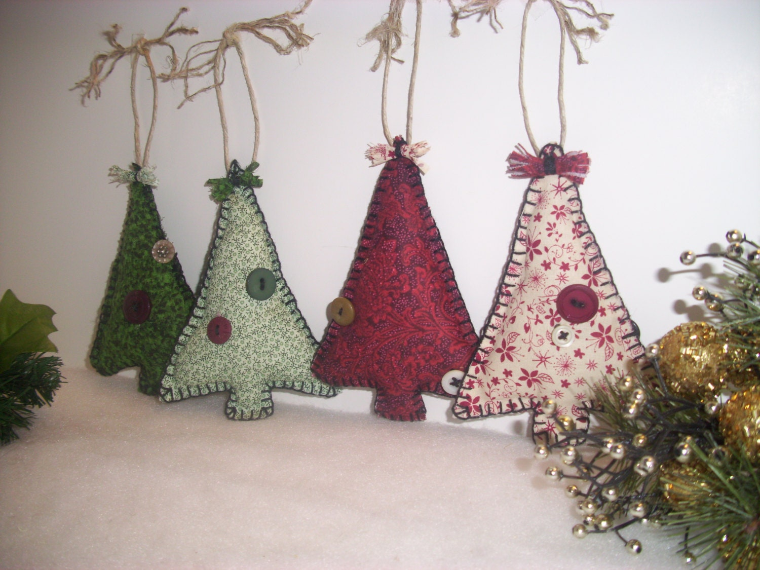 Primitve Christmas Tree Fabric Ornaments Rustic Country