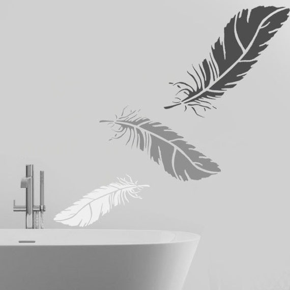 Feather stencil wall art stencil home wall d cor by for Pochoir mural geant