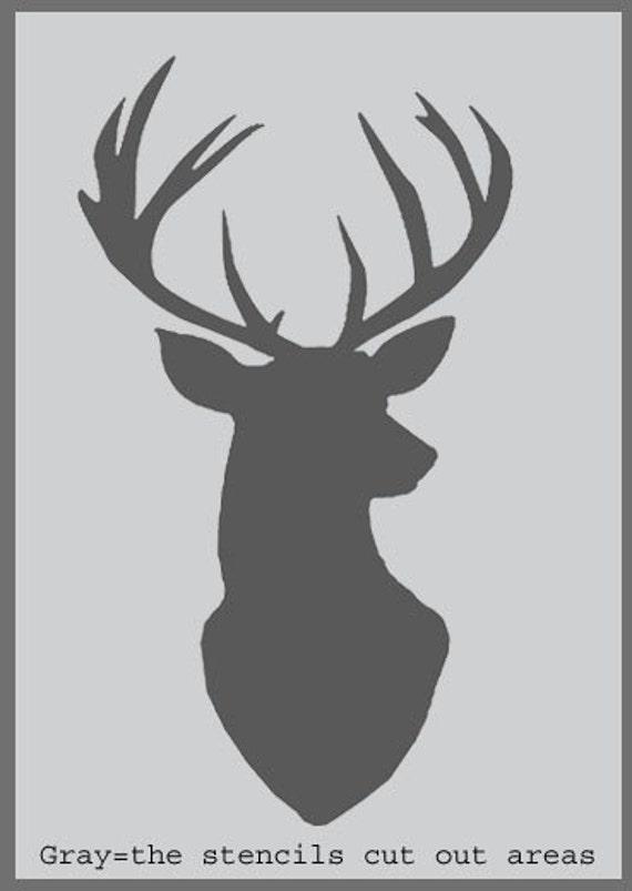 Stag Head Silhouette Stencil deer head decor by IdealStencils