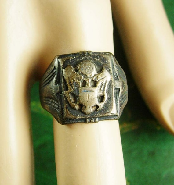Old United States Army Ring Vintage Sterling Silver 6 5 Grams