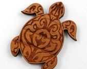 Laser Cut Supplies-1 Piece.Tribal Turtle Charm - Cherry Wood Laser Cut Turtle - Little Laser Lab Sustainable Wood Products
