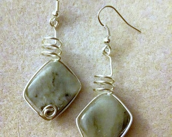 Wrapped Marble Earrings
