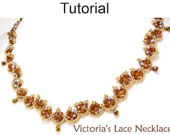 Beading Tutorial Pattern Necklace - Beadweaving - Simple Bead Patterns - Victoria's Lace Necklace #11249