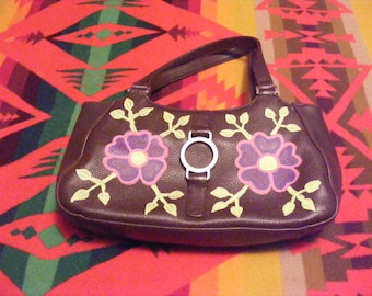 Woodland Floral Brown Leather Hand Painted Purse Wild Rose