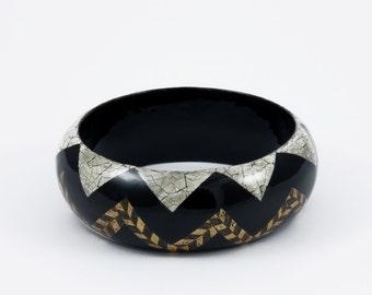 Bracelet EggShell   - Black - White - Gold leaf.