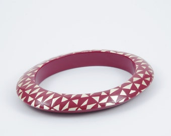 Engraved Burgundy Bracelet