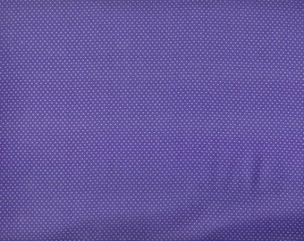 Mini Dots - white pindots on purple cotton - YARD