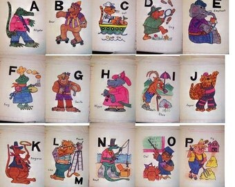 Animal Alphabet Quilt Blocks - Hand colored