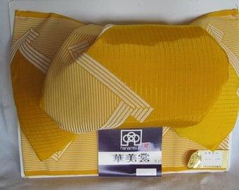Vintage Japanese Obi Bow Kimono Tsuke Obi Yellow 80's