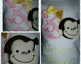Curious George Shirt with Pink Chevron