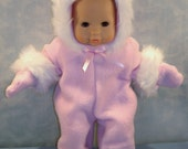 15 Inch Doll Clothes - Pink Fur Trimmed Polar Fleece Snowsuit made to fit 15 inch baby dolls