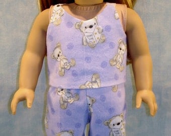 Teddy Bears on Lavender Cami Jami Pajamas made to fit 18 inch dolls