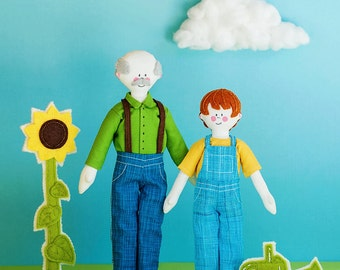 Happytown Play Set - Sam and Grandpa Work In The Garden  - PDF doll patterns
