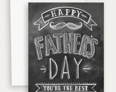 Father's Day Card - Card For Dad - Mustache Card - Chalkboard Art - Retro Father's Day - Blackboard Card - Hand Lettering- Chalk Art