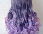 Pastel Purple Ombre wig. Long curly  hair long side bangs durable Heat resistant Fashion hairstyle wig for Cosplay or Daytime use.