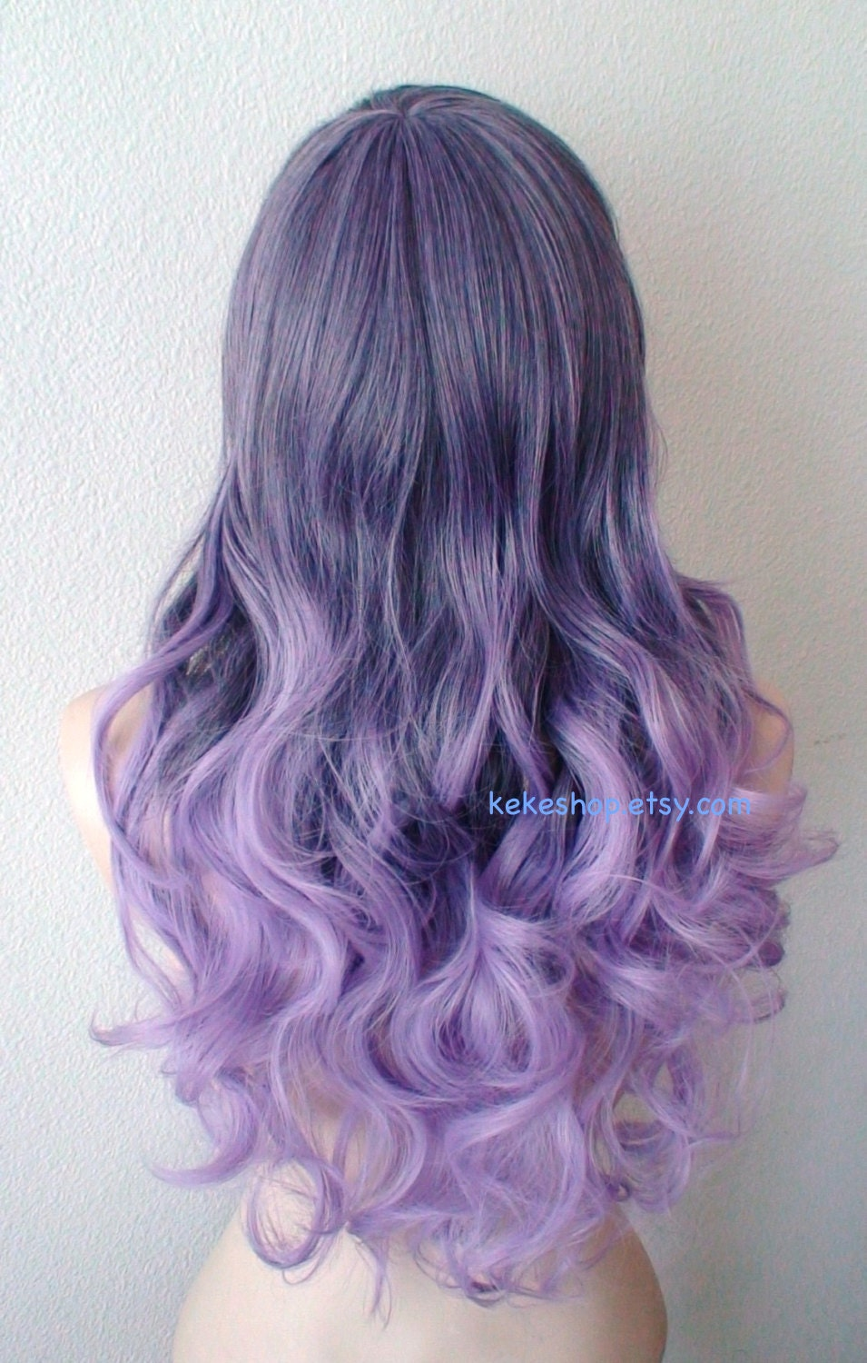 Pastel Purple Ombre Wig Long Curly Hair Long Side Bangs Wig