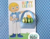 Witee Easter Basket Card - Blond Boy (Free Easter Tag)