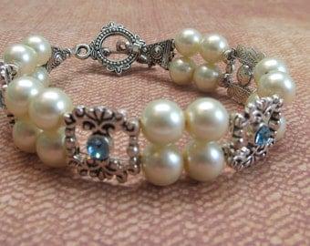 Swarovski crystal pearl bracelet roaring 20s Downton Abbey Great Gatsby bridal jewelry Victorian