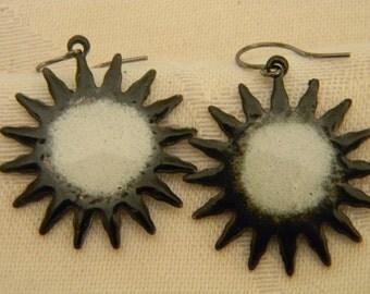 Torch fired copper enameled sun earrings