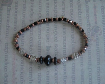 Black and Copper Celtic Beaded Bracelet