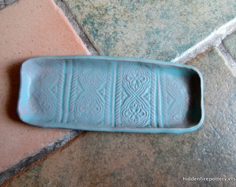 Moroccan Patterned Small Tray in Pale Turquoise, Hand Built Stamped Terracotta, Guest Soaps, Olives, Rustic, Organic, hiddenfirepottery