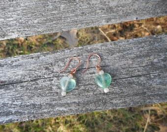 HUGE DISCOUNT -very cute green 10mm heart gemstone earrings with moonstone, pure copper findings.