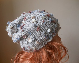 Hand Knit Slouchy Beanie Hat Acrylic Beige with Flowers