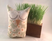 Ina the Upcycled Stuffed Owl Toy Plush Mini Pillow Softie Made From a Skirt