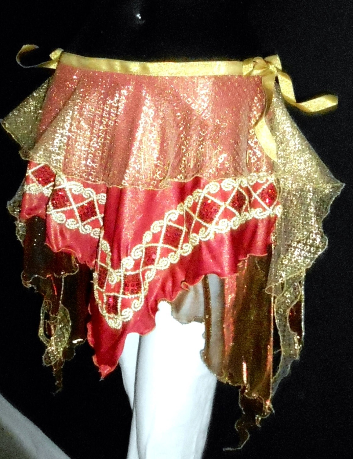 Cabaret Belly Dance Costume Xmas Hip Scarf 3338