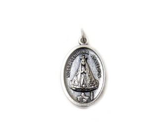 Nuestra Señora de la Concepción Aparecida Italian Charm, Antique Silver, 25x16mm - 1 piece