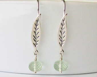 Green Gemstone Dangle Earrings, 925 Sterling Silver, Pale Green Semi-Precious Prasiolite Faceted Bead Drops, Green Amethyst, Leaf Accents