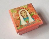 "Blessed Mother Jewelry Box Our Lady Trinket box for First Holy Communion/ Confirmation Gift 3 1/4 by 3 1/4 by 3"" One of a Kind"