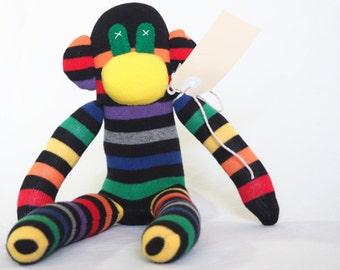 Sock monkey, sock animal, soft plush toy monkey. Mark Monkey.