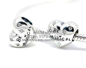 NEW 100% 925 Sterling Silver Be Bold Be Magical  with Clear CZ Charm Bead Fit  European Charm Bracelets & Necklaces CB474