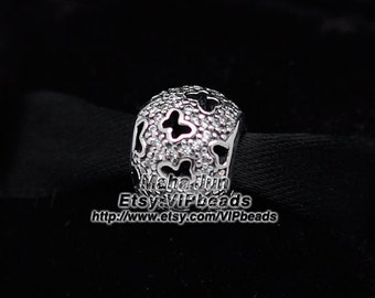 2015 NEW 925 Sterling Silver Fluttering Butterflies / Abstract Micro Pave Charm with Clear CZ Charm Bead Fit  European Charm Bracelets BE223