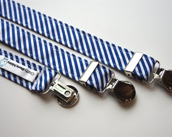 Suspenders - White and blue lines