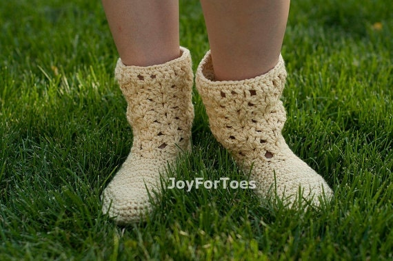Crochet Laced Women Boots for the House Straw Cottage Chic Hippie One-colored Custome Made